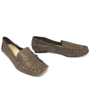 Kate Spade Genuine Leather Army Green/Gold Loafers